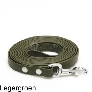 Lange biothane lijn 3 meter 3m riem trainingslijn looplijn geen leder leer voor hond lijn leiband speurlijn hondenriem kleur legergroen armygreen