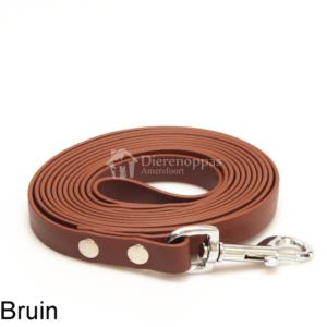 Lange biothane riem voor honden lijn speuren speurlijn hondenriem hond bruin leiband