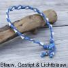 Natuurlijke anti tekenband EM-X keramiek keramische kralen teken vlooien band hond blauw