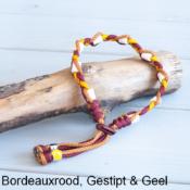 Natuurlijke anti tekenband EM-X keramiek keramische kralen teken vlooien band hond bordeaux rood