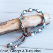 Natuurlijke anti tekenband EM-X keramiek keramische kralen teken vlooien band hond bruin blauw