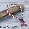 Natuurlijke anti tekenband EM-X keramiek keramische kralen teken vlooien band hond rood wit