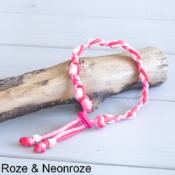Natuurlijke anti tekenband EM-X keramiek keramische kralen teken vlooien band hond roze