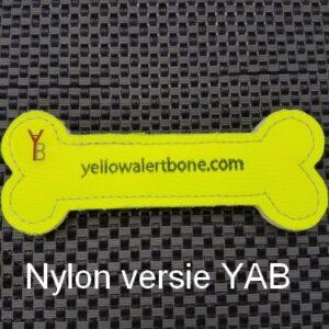 Yellow Alert Bone gele strik botje hond afstand nylon