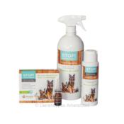 STOP! Omgevingsspray druppels vlooienshampoo tegen vlooien kat hond natuurlijk alternatief voor gif