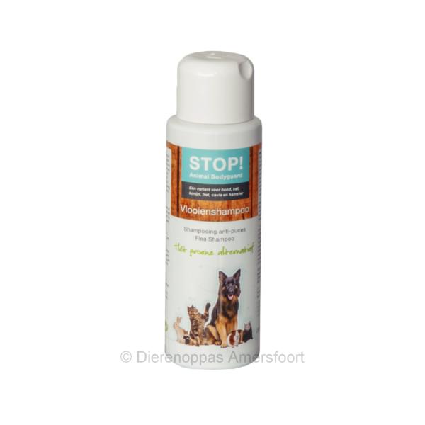 STOP! anti vlooeinshampoo tegen vlooien kat hond natuurlijk alternatief voor gif