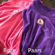 Roze en paarse badjas hond hondenbadjas