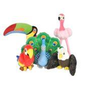 Play hondenspeelgoed knuffel Arend, Papegaai, flamingo, pauw, toekan