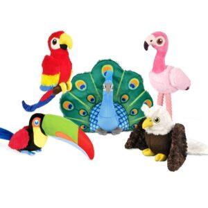 Play hondenspeelgoed knuffel Arend, Papegaai, flamingo, pauw, toekan tropische vogels