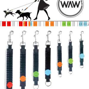 WAW Easy Dog walk anti-trek elastische hondenriem. Bungee anti shock trekveer met elastiek lijn. Schokdemper hond riem met anti-trek tussenstuk halsband tegen trekken Italie