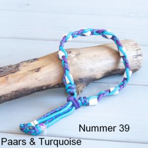 Natuurlijke anti tekenband EM-X keramiek keramische kralen teken vlooien band hond Turquise paars