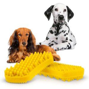 Pet+Me haarborstel borstel kam hond langhaar korthaar kortharig langharig siliconen rubber geel