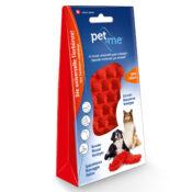 Pet+Me haarborstel borstel kam hond langhaar korthaar kortharig langharig siliconen rubber rood