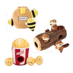 Zippypaws Burrows verstopknuffels verstop knuffels speeltje hond puppy instagram aanbieding 10% korting kortingscode eekhoorn boomstam popcorn