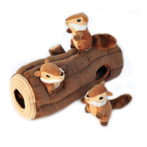 Zippypaws Zippy paws verstopknuffels verstop knuffels boomstam eekhoorntjes knuffel hond honden