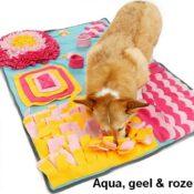 Snuffeldeken hond snuffelmat snuffel doek hersenwerk aqua roze denkspel honden