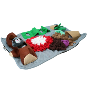 Snuffelmat snuffelkleed speelmat met knuffel raccoon wasbeer speeldeken puppy hond