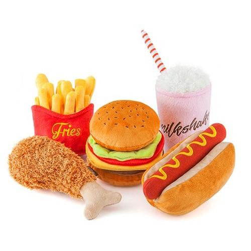 Play Amerikaans American Classic eten patat hamburger kipnugget hondenspeelgoed knuffel frietjes gond